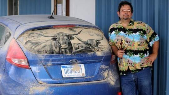 Удивительное. Рисунки на пыльных стеклах авто (38 фото)