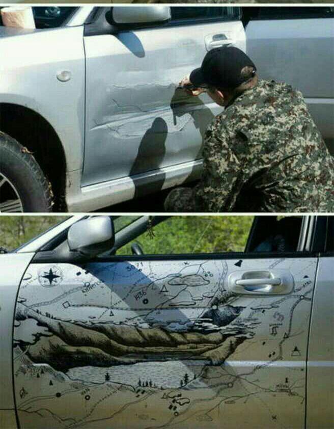 wisgoon - ویسگون - #خلاقیت بعد از تصادف خودرو 😆 #ایده #هنر ...